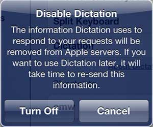 New iPad 3 Dictation Disable Prompt